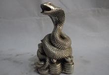 Envío rápido USPS a EE. UU. S3245 6 cobre chino plata YuanBao dinero serpiente Cobra Zobiac año estatua Animal