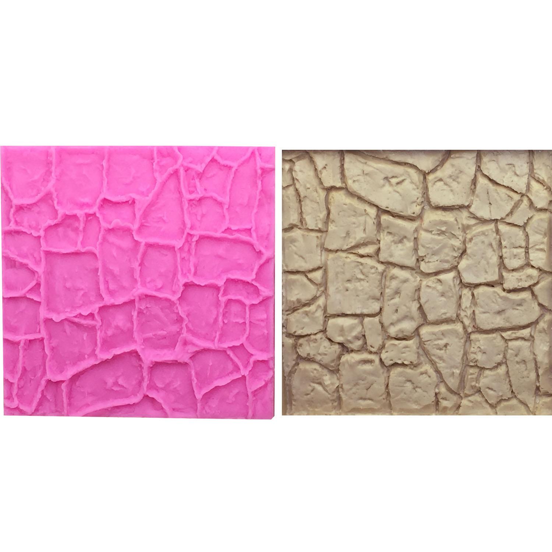Molde de silicona encaje M0663 con textura de piedra para pared, alfombrilla pastel fondant de chocolate, decoración manualidades para hornear Molde de galletas