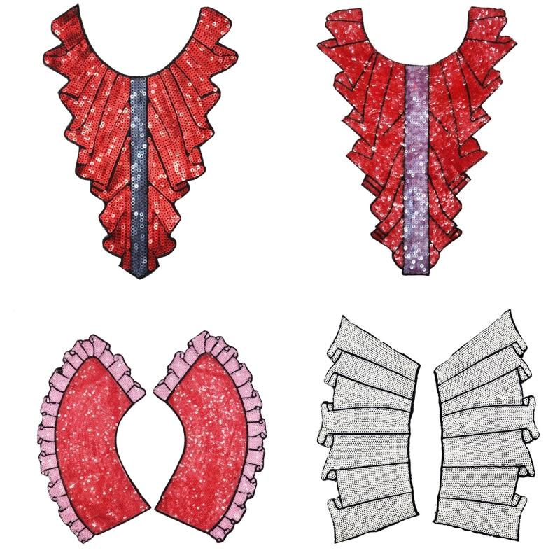 5 estilos de encaje de lentejuelas apliques en el escote DIY encaje Collar parches de telas para Patchwork ropa camisa costura apliques Accesorios