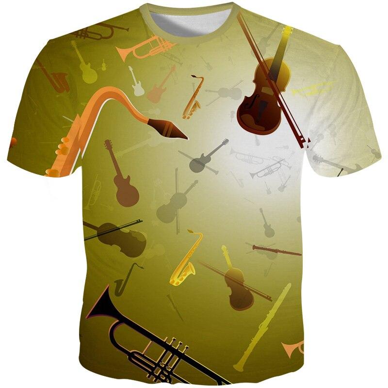 Yffushi novo masculino 3d tshirts instrumentos impressão t camisas dos homens legal t camisa de verão dos homens harajuku camisetas casuais streetwear 5xl