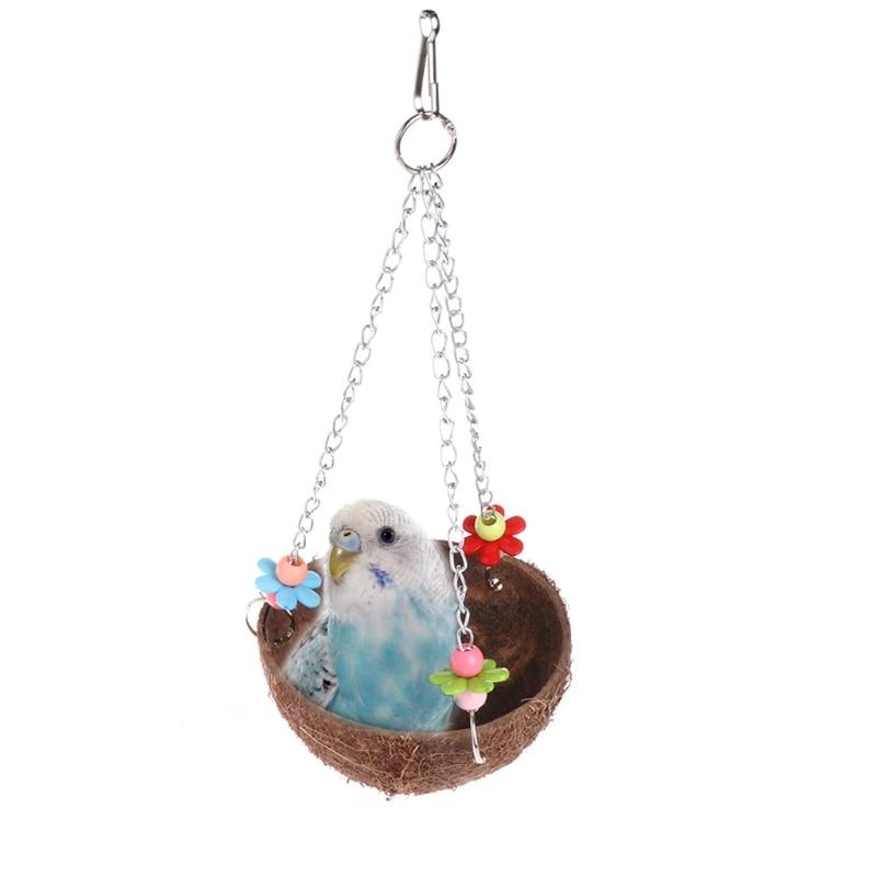 Alimentador de jaula OOTDTY Natural con cáscara de coco para pájaros, juguetes colgantes de pie para loros y Mascotas