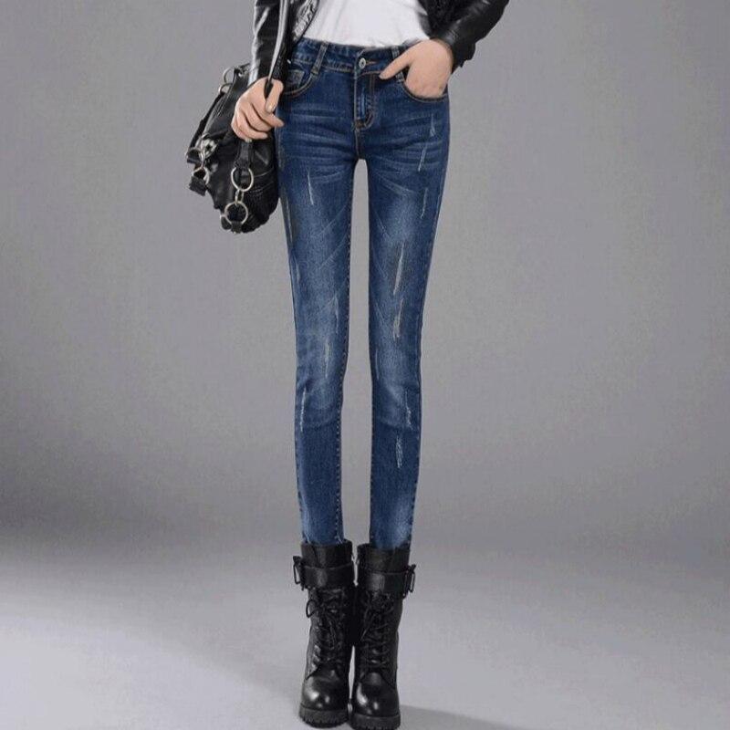 ¡Novedad de 2020! Pantalones pitillo vaqueros de cintura media de algodón para oficina de primavera y otoño para mujer y Niña 79422