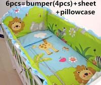 Discount! 6pcs Boy Baby Bedding set Crib bumpers set Cot set boy include(bumper+sheet+pillowcase)
