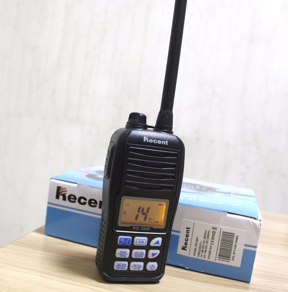 2 piezas RS-36M impermeable IP67 Buoyant VHF transmisor-receptor de Radio portátil Marina intermitente walkie-talkie flotante para barco 5w tri-watch