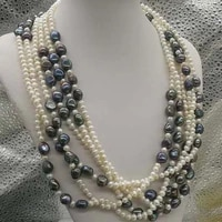 wow 135real pearl 5 9mm whiteblack freshwater pearl necklace free shipping