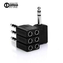 4 Uds 6,5mm Y Splitter 1 enchufe macho a 2 6,5mm Jack adaptador hembra convertidor de Audio para Mic DJ altavoz mezclador conector de cable
