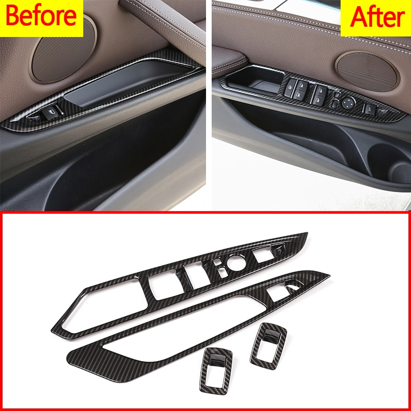 4Pcs Carbon Fiber ABS Plastic Car Door Window Button Panel Frame Trim For BMW X5 X6 F15 F16 2014-2018 Car Accessories For LHD