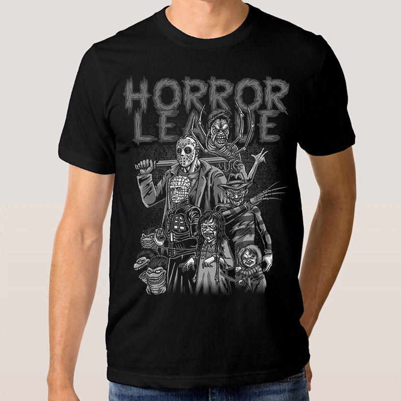 Camiseta de la Liga de terror Freddy Krueger Jason muñeco Chucky, camiseta para hombre 2019 nueva moda novedosa ropa de calle camisetas con Logo sólido