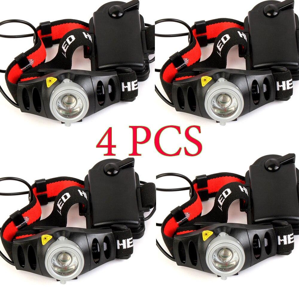 4 قطعة 1200lm Q5 LED للمصابيح الأمامية لل دراجة الصيد التخييم في الهواء الطلق الإضاءة التكبير في/خارج قابل للتعديل التركيز ضوء