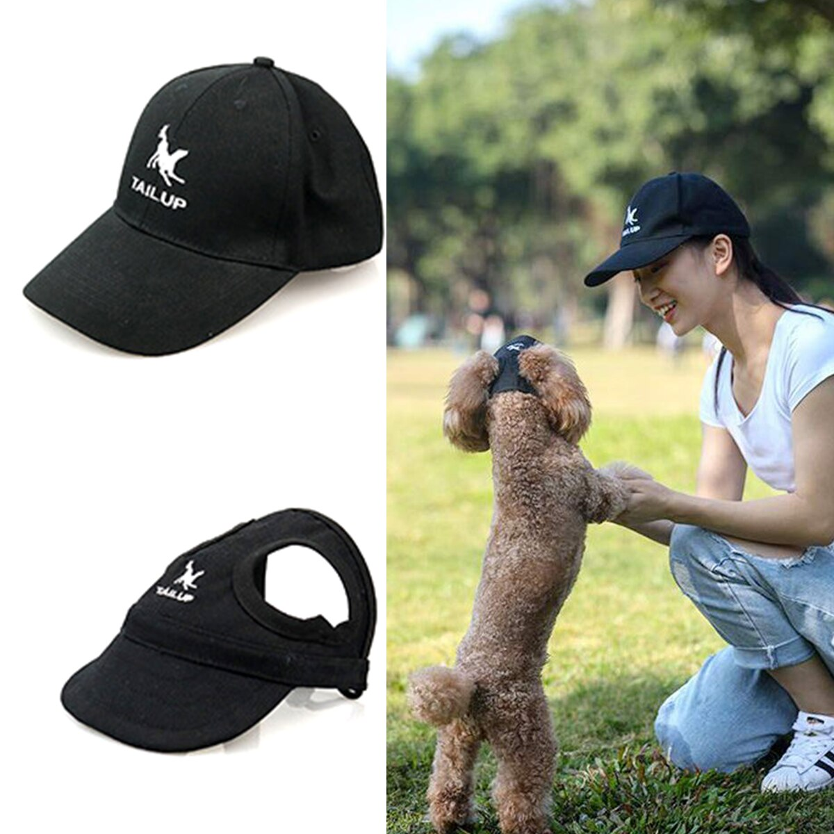 TINGHAO 2 unids/set lona perro mamá/papá familia gorra de béisbol a juego moda ajustable al aire libre mascota padre-hijo sombrero