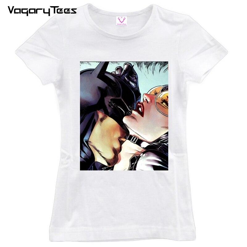 New Summer Women Tops 2019 Batman and Catwoman Kiss t-shirt Fashion Cool tshirt Funny hipster Kiss tshirt Tees