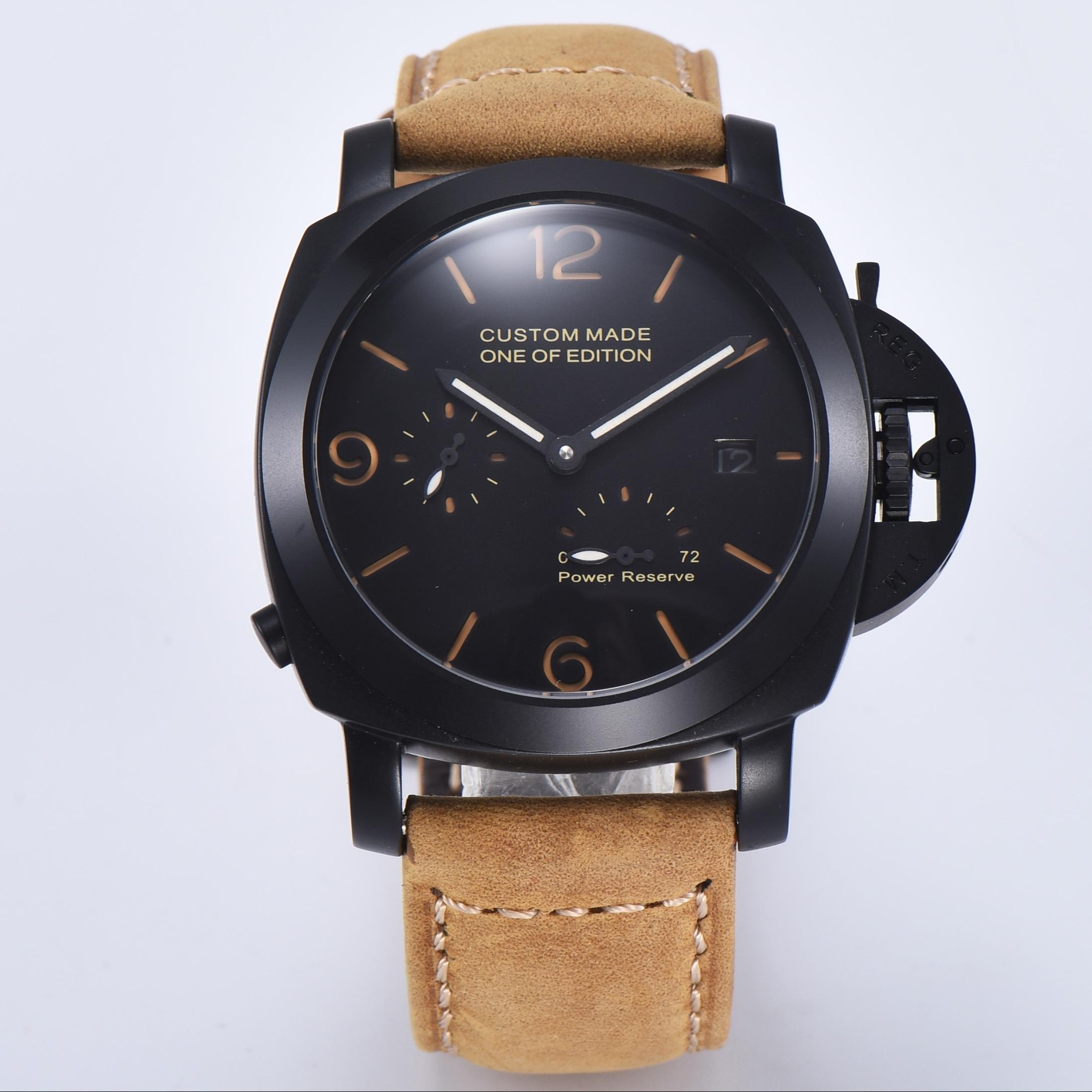 Reloj 44mm BOMAX MARINA militar movimiento automático luminoso calendario PVD Acero inoxidable caja A1