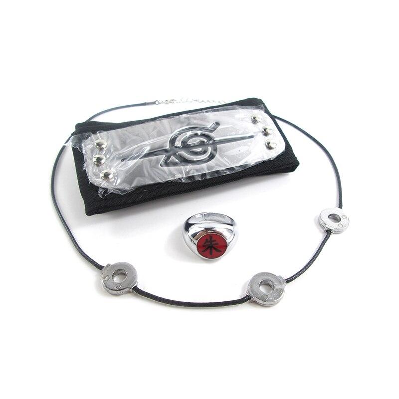 Brdwn Naruto Косплей-костюм Akatsuki Hidan Uchiha Itachi Логотип Повязка на голову ожерелье кольцо кунай