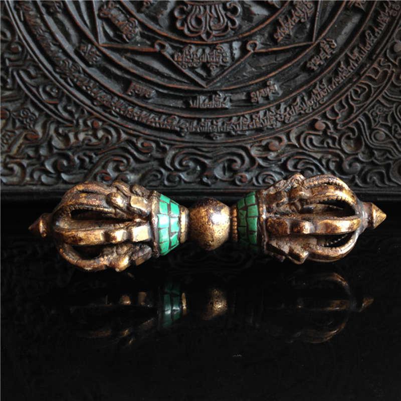 TBC999 artesanía tibetana budista mortero Vajra amuleto arma artesanía latón dorado