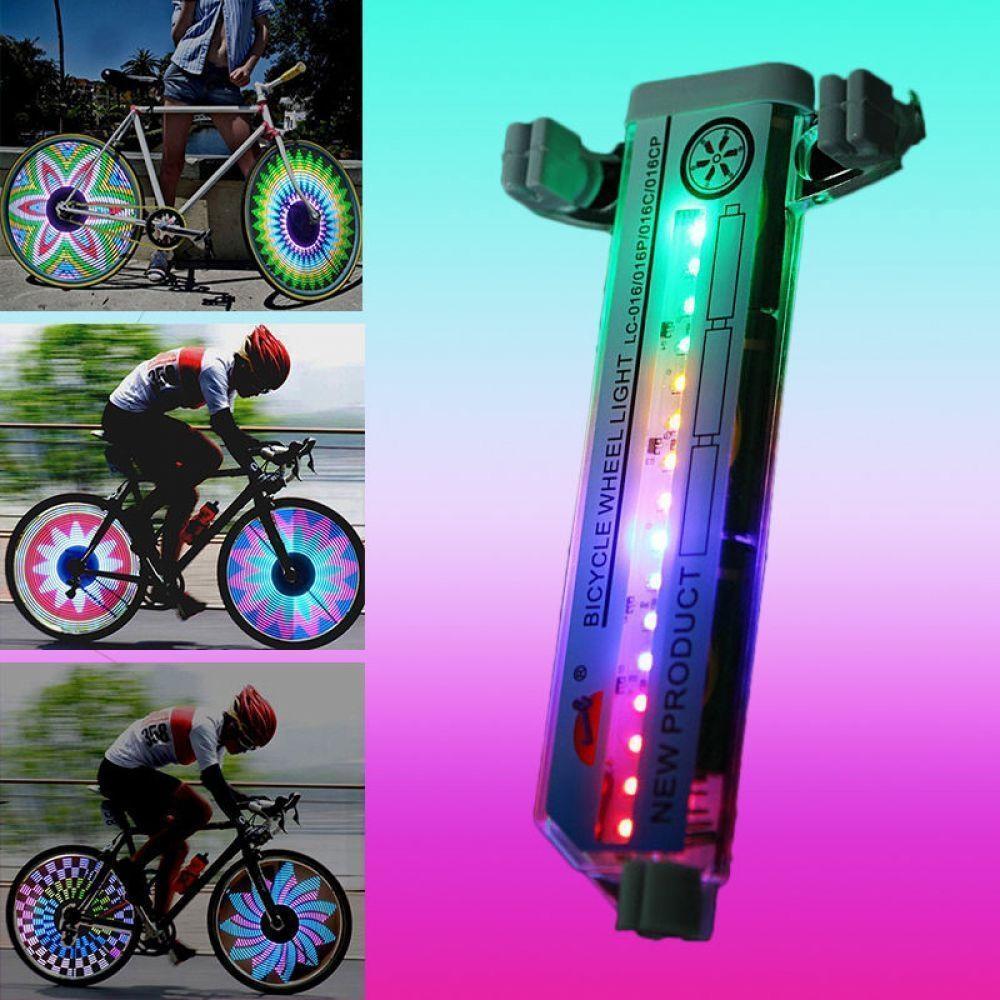 Luces LED para llanta de bicicleta, luz para rueda de neumático de motocicleta, lámpara de 32 LED con destellos para radio, luces de ciclismo para exteriores, lámpara de rueda de 24 pulgadas