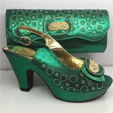 Merveilleux vert africain chaussures à talons hauts et ensembles de sacs pour la fête GY33 hauteur de talon 8cm
