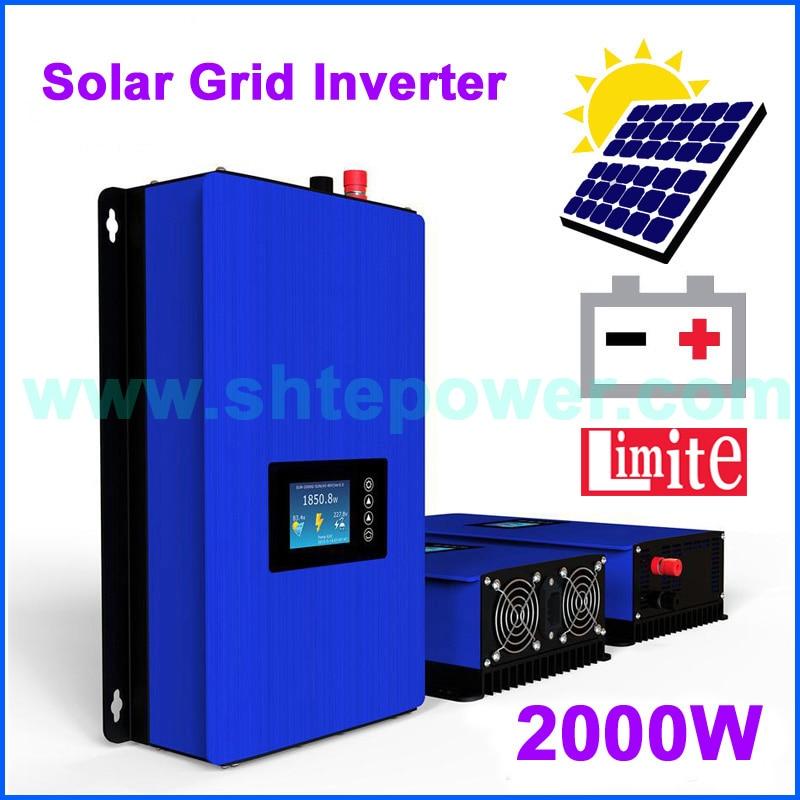Envío gratis de nuevo inversor de energía solar 2000w MPPT 2000GTIL2-LCD DC 48v 72v a AC 110v 120v 220v inversor de salida con limitador
