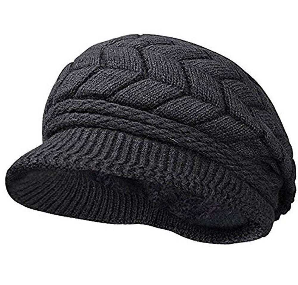 Зимняя теплая вязаная шапка для женщин, флисовая шапка, вязаная крючком шерстяная шапка с козырьком для девушек