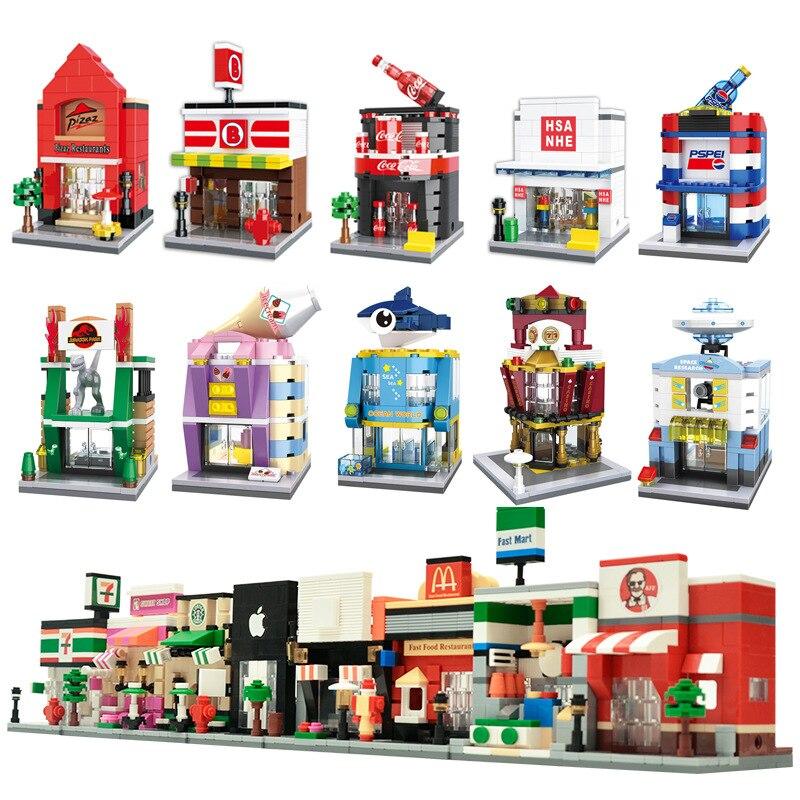 Miniatura Mini calle montado juguetes Modelo de la serie de los niños bloques de construcción de juguetes educativos regalo Compatible con la mayoría de las marcas