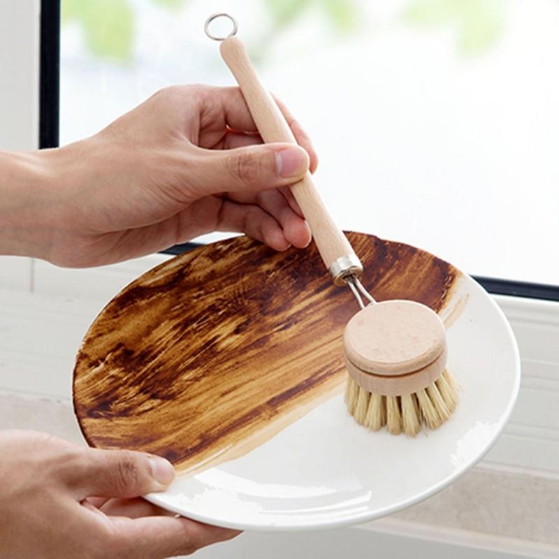Punho longo pan pot escova prato tigela lavagem escova de limpeza de madeira natural ferramentas de limpeza da cozinha do agregado familiar