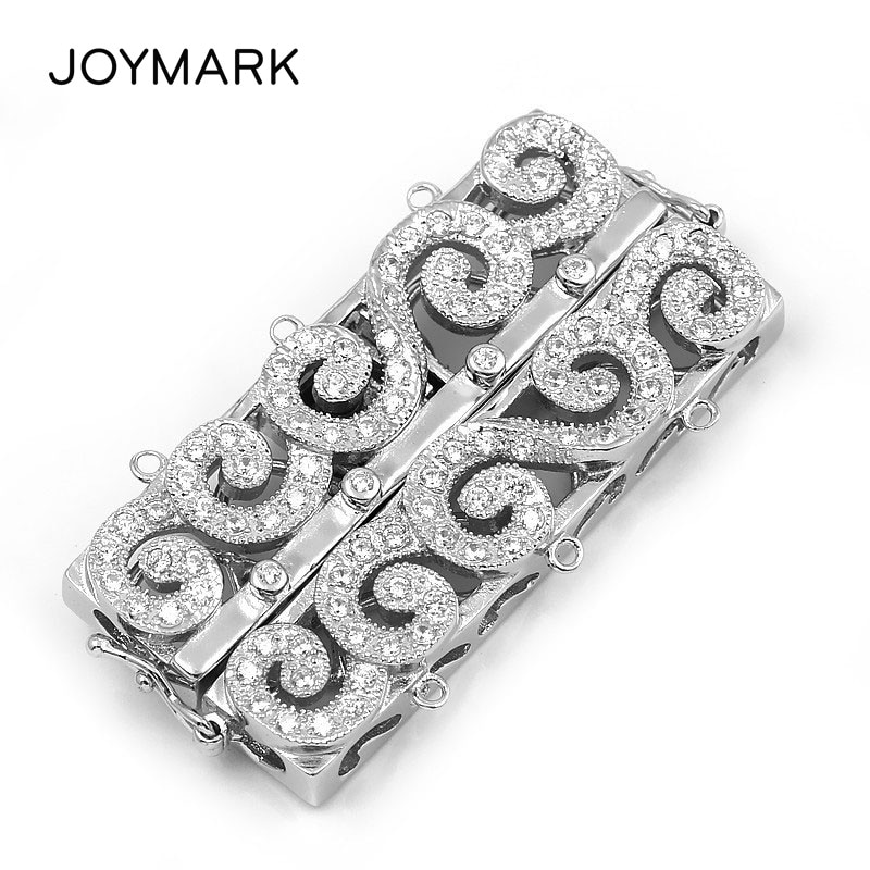 3 Strands Sterling Silver Double Safe Box Clasps Pave Zircon Rectangle Multifunction Clasp Pearl Necklace Connector SC-CZ031