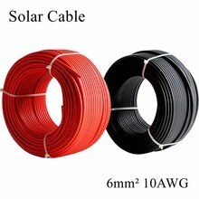 Câble solaire 5 mètre/lot 6mm2 10AWG   Rouge et noir, câble PV, fil de cuivre, conducteur veste XLPE, certification pour panneau solaire