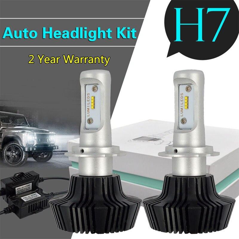 H7 lâmpada led canbus erro livre fanless g7 led nevoeiro farol kit de conversão philipslumileds luxeon zes chips h7 carro correndo luzes