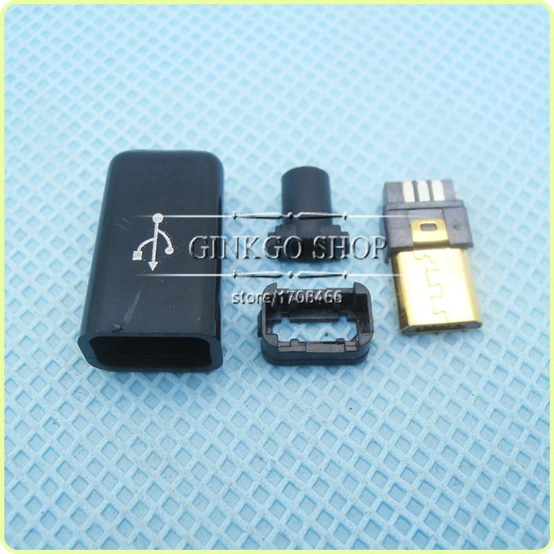 50 مجموعات/وحدة جولدنج تصفيح 4 في 1 مايكرو 5P USB ذكر التوصيل اللحيم نوع مايكرو USB الذيل شحن المكونات ، أسود البلاستيك غطاء اللون