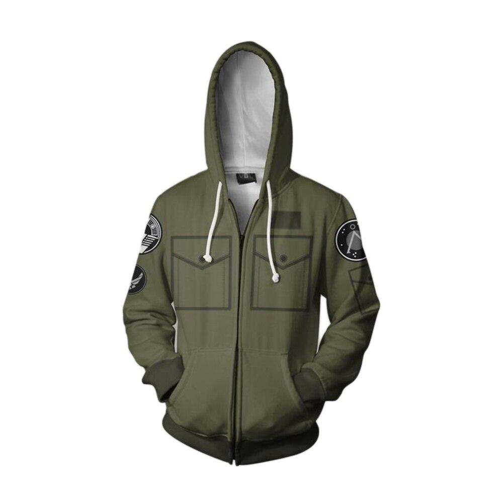Sudadera con capucha de manga larga y cremallera con estampado 3D de Cosplay de Stargate SG-1, chaquetas modernas de otoño para hombres y mujeres y adultos