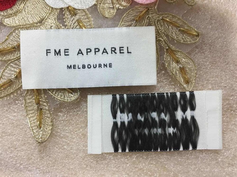 """FME APPAREL"" Customized woven label / garment tags / main label Damask Satin Taffeta clothing label End fold Center Fold label"