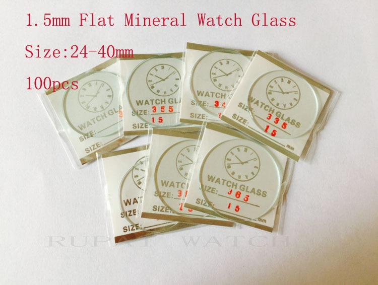 Reloj Mineral de cristal plano 100 Uds 1,5mm 25 a 40mm/Cristal de buena calidad para relojeros