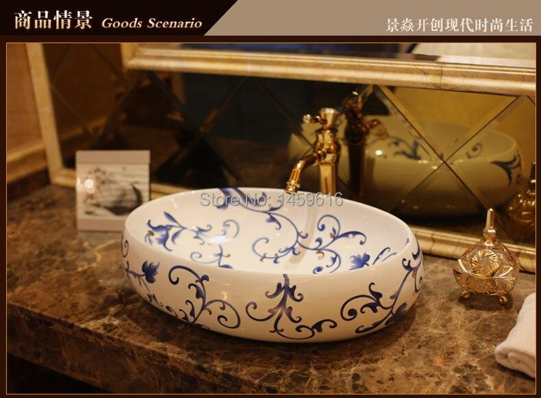 Lavamanos de cerámica de baño ovalado, lavabo de lavabo, lavamanos pintados a mano, fregadero 5033