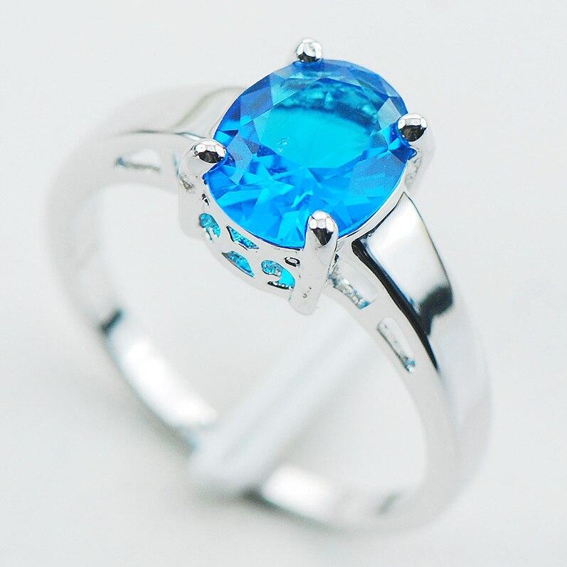 Blau Kristall Zirkon 925 Sterling Silber Hochzeit Attraktives Design Ring Größe 5 6 7 8 9 10 11 12 PR06Min auftrag ist $10