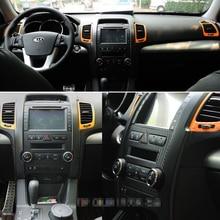 For Kia sorento 2009-2012 Interior Central Control Panel Door Handle 3D/5DCarbon Fiber Stickers Deca