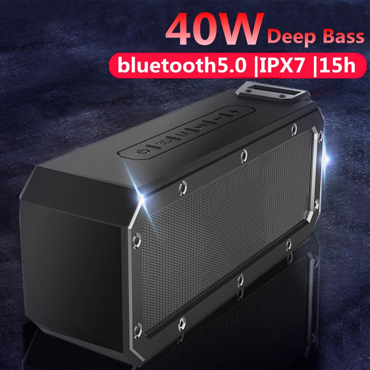 مكبر صوت بلوتوث 5.0 ، 40 واط ، مكبر صوت ، عمود ، محمول ، IPX7 ، مقاوم للماء ، مضخم صوت ، صوت ستيريو 360 ، في الهواء الطلق ، Boombox