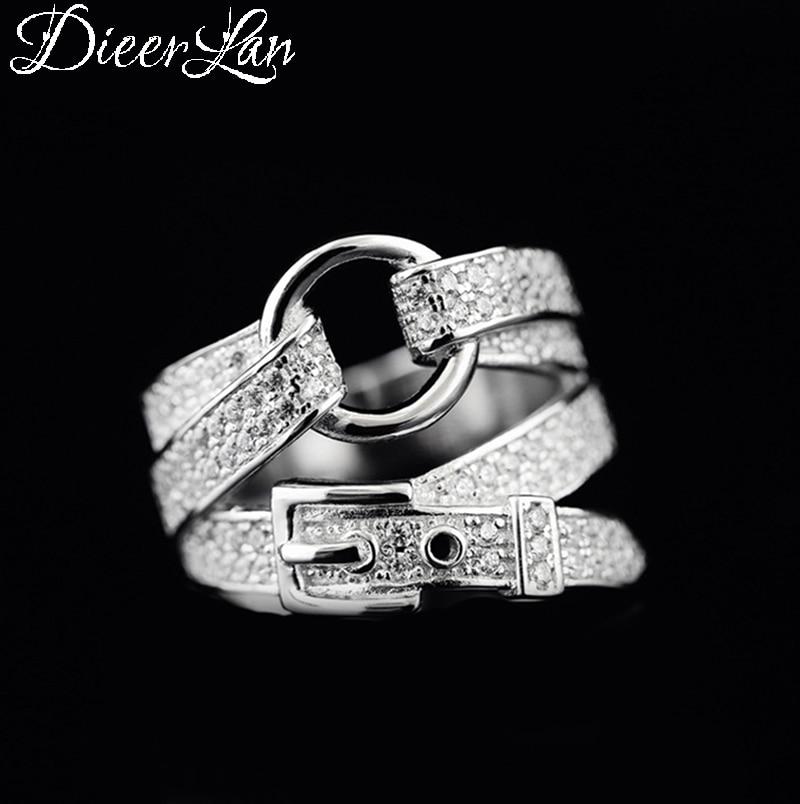 DIEERLAN, anillos de cinturón de circón plateado esterlina 925 a la moda bohemio para mujer, dedo grande de boda con anillo de compromiso, joyería elegante