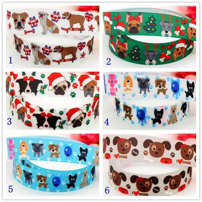 DHK 7/8'' Free shipping bulldog dog christmas printed grosgrain ribbon headwear hair bow diy party decoration OEM 22mm B1467
