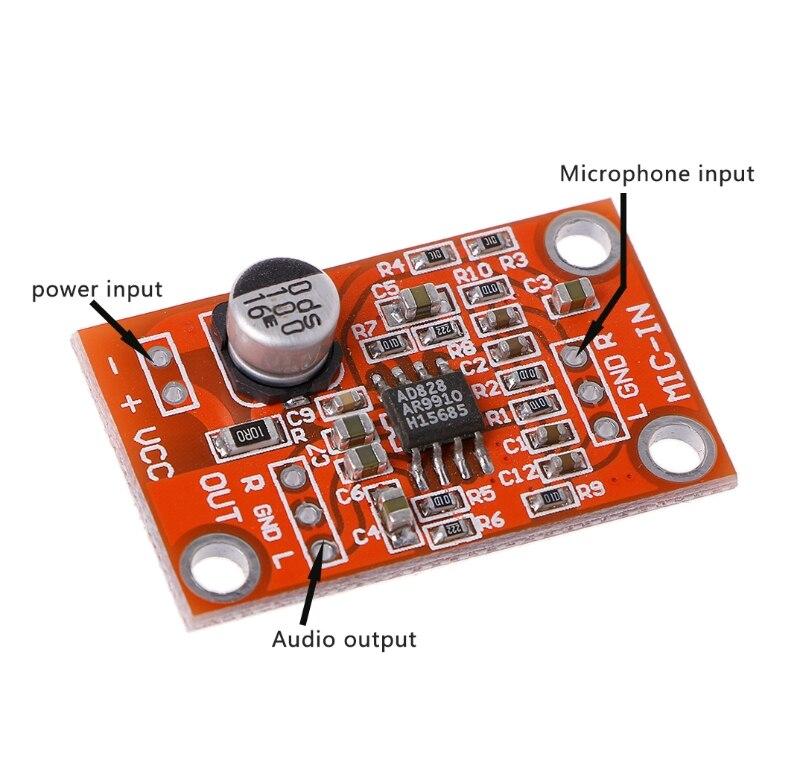 2019 быстро раскупаемый 1 шт. AD828 стерео динамик предусилитель для микрофона доска предусилитель микрофона Модуль постоянного тока 3,8 V-15 V