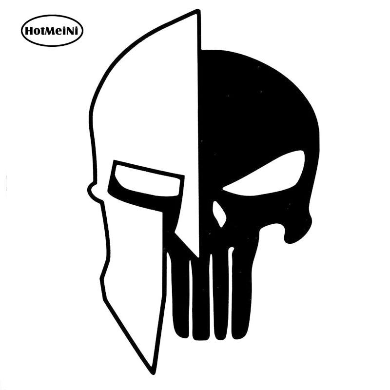 13CMX8.3CM casco Sparta Punisher calavera vinilo motocicleta pegatinas para coche negro/plata c1-05164