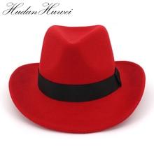 Cowgirl Jazz Cowgirl Western Cowboy   Chapeaux en laine, feutre à large bord, chapeau Fedora mode femmes Panama, bande noire décorée Trilby Sombreros