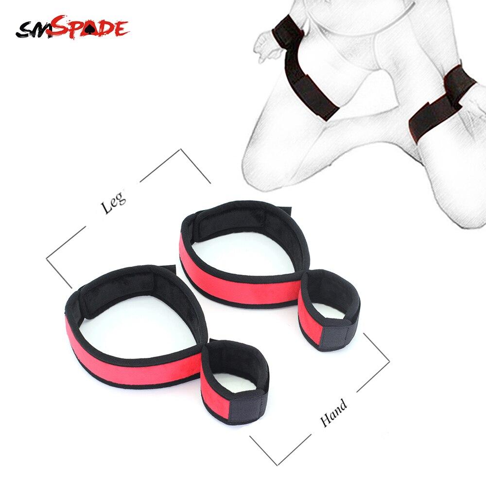 Smspade Sex Toys Slave BDSM Adult Bondage Handcuffs Ankle Cuffs Wrist to Leg Cuffs Restraint Fetish Toy Adjustable Bondage Cuffs