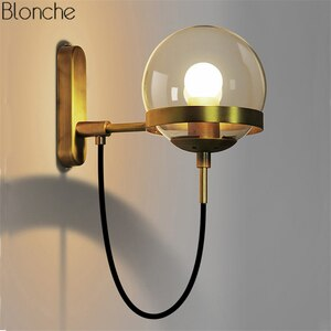 LED Wall Lamp Glass Ball Lampshade Wall Sconce Modern E27 Lights for Living Room Bedroom Bedside Lamps indoor Lighting Fixtures
