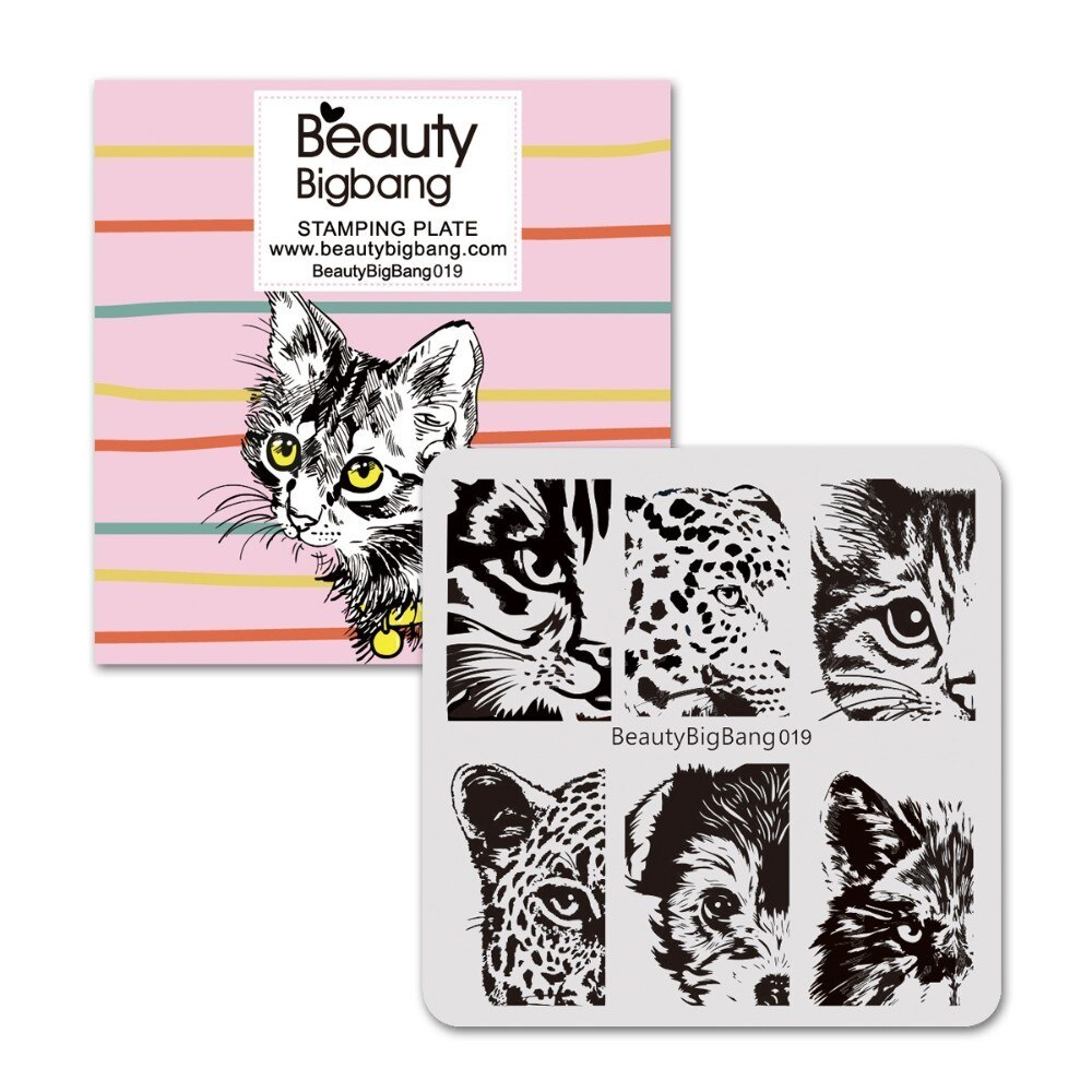 Beauty BigBang 6*6cm Square Stamping Plate Lion Tiger Dog Cat Eye Image Nail Art Stamping Plate Template for Nail Art