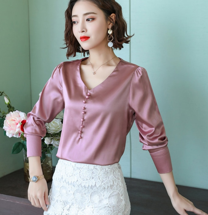 BIBOYAMALL 2018 de moda de talla grande mujer blusas manga larga Tops y blusas para mujer Camisas para mujeres, ropa Blusa Top