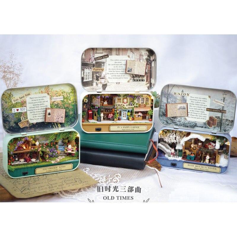 Casa de bonecas 3d caixa de madeira teatro diy modelo miniaturas casa de bonecas de madeira miniatura caixa bonito mini boneca casa montar kits presente brinquedos