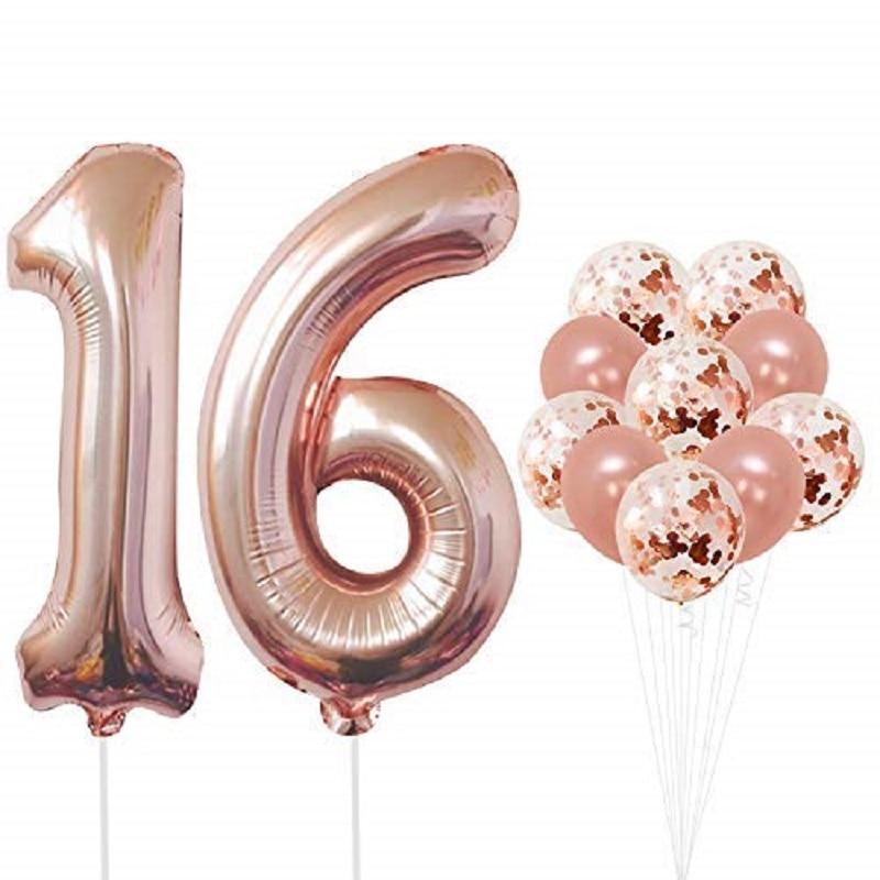 12 шт./лот, розовое золото, 16, 16, 16, украшение на день рождения, милые девушки, день рождения, день рождения, вечеринка, воздушный шар