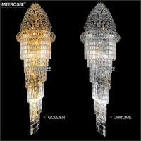 גדול קריסטל נברשת אור קבועה קלאסי זהב כרום מלון קריסטל מנורת לובי מדרגות מסדרון 100% ערבות