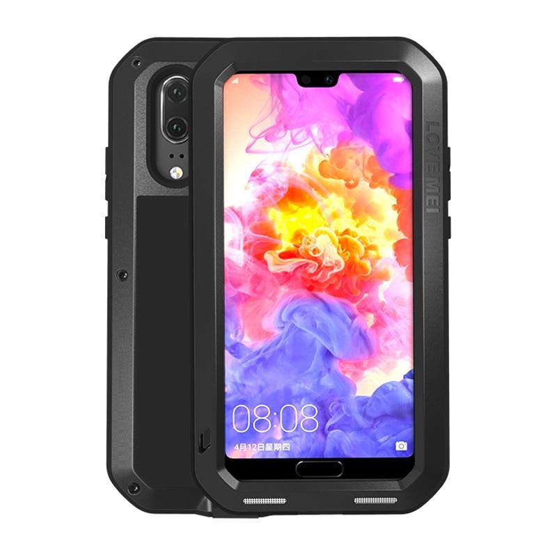 جراب معدني من الألومنيوم لهاتف Huawei ، واقي زجاجي مقاوم للصدمات لهاتف Huawei P30 Pro ، P20 Lite ، 360 ، P30 Pro ، P 30