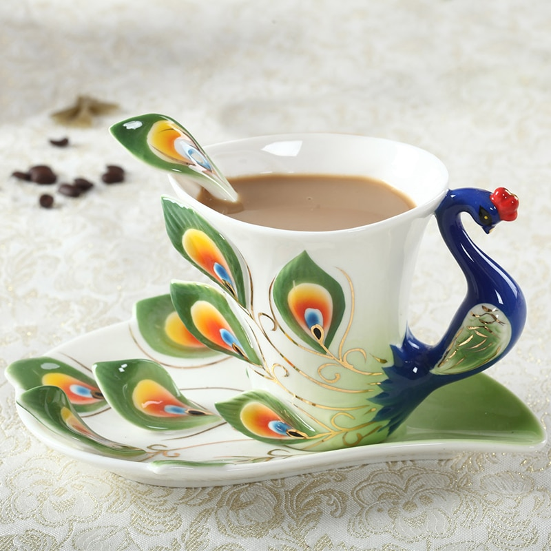 Peacock Coffee Cup Ceramic Creative Mug Bone China 3D Color Enamel Porcelain Saucer Spoon Coffee Tea Sets for friend Gift