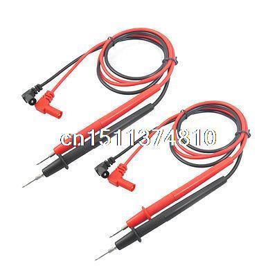 2 pares de 1000V Banana Plug 0,8 M voltímetro sonda de prueba Cable de plomo negro rojo